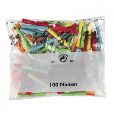 Röllchenlose Nieten farbig sortiert 100 Stück