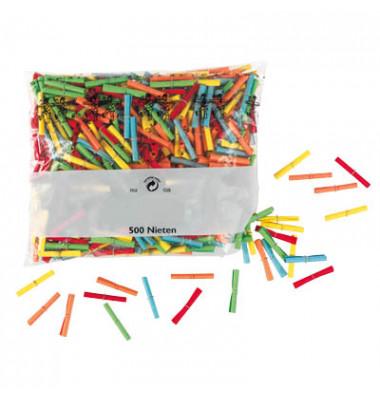 Röllchenlose Nieten farbig sortiert 500 Stück