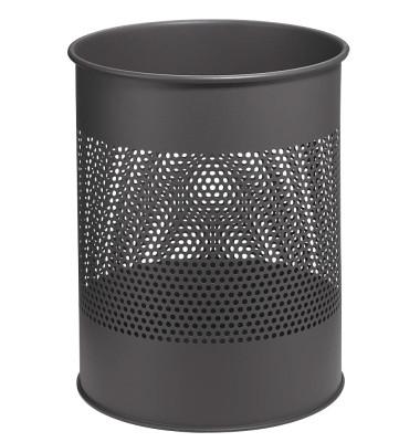 Stahlpapierkorb 15 Liter anthrazit 20 Reihen perf.