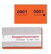 Doppelnummern orange 01-500 5 Blöcke à 100 Abrisse