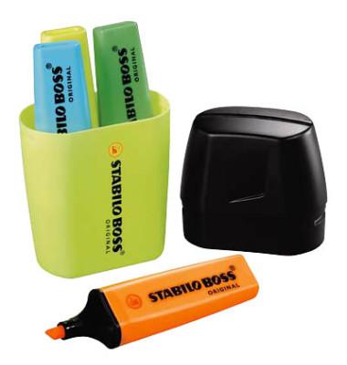 Textmarker Boss Original 4er Etui Tischset farbig sortiert 2-5mm Keilspitze