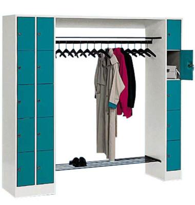 Schließfachschrank 8070 80730-00, Metall, 3 Abteile mit 15 Fächern, abschließbar, 210x195cm (BxH), blau