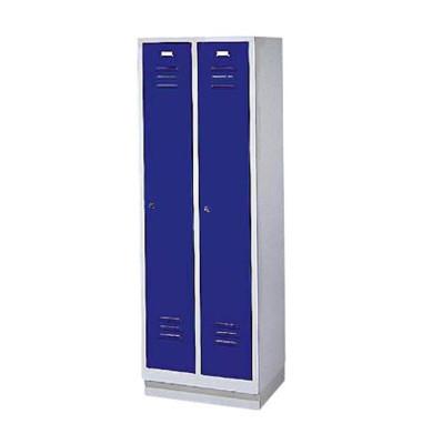 Garderobenschrank enzianblau mit 2 Abteilen