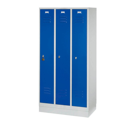 Garderobenschrank enzianblau mit 3 Abteilen