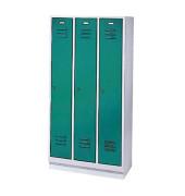 Spind 8020-30, Metall, 3 Abteile mit 3 Fächern, 90x180cm (BxH), blau