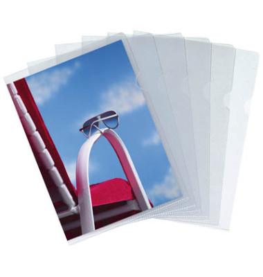 Sichthüllen 76091, A4, farblos, transparent, genarbt, 0,09mm, oben & rechts offen, PP