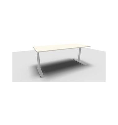 Schreibtisch Jump TN0022-4G2JGW3W3D0D0V0U0M weiß rechteckig 180x80 cm (BxT) manuell höhenverstellbar