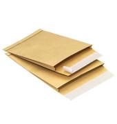 Faltentaschen B4 ohne Fenster 20mm Falte haftklebend 130g braun 100 Stück