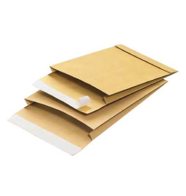 Faltentaschen B4 ohne Fenster 40mm Falte haftklebend 140g braun 100 Stück