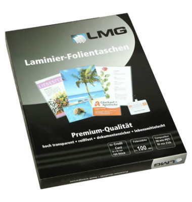 Laminierfolien 54x86mm 2 x 100 mic glänzend 100 Stück