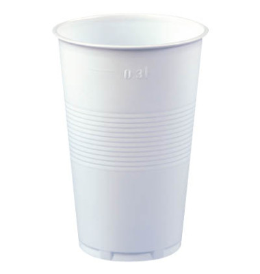 Trinkbecher aus Polypropylen (PP) 0,3 l weiß