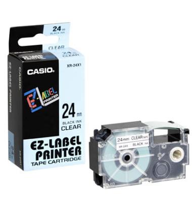 Schriftband XR-24X1 24mm x 8m schwarz/transparent laminiert stark selbstklebend