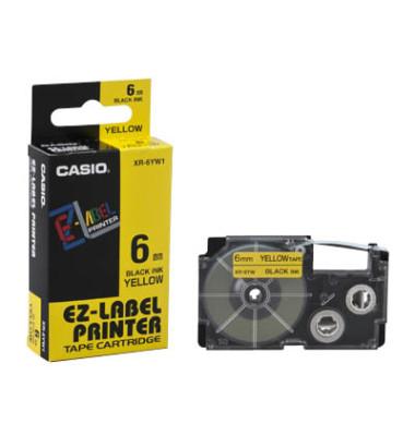 Schriftband XR-6YW1 6mm x 8m schwarz/gelb laminiert stark selbstklebend