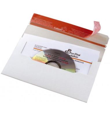 CD/DVD-Versandtasche 222x123x3 mm DINlang ohne Fenster Vollpappe weiß 1 Stück