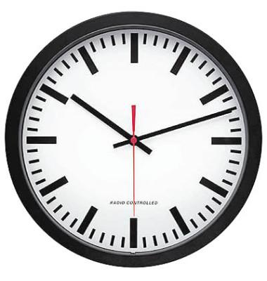 Funkwanduhr Bahnhofsdesign schwarz Ø 30cm