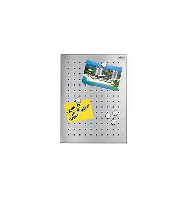 Magnettafel 66751, 50x40cm, Edelstahl gelocht, silber