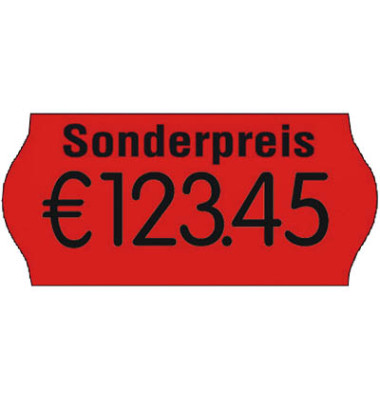 Preisetiketten 70-030-S-035, 26x12mm, leuchtrot permanent, 54.000 Etiketten