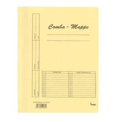 Schnellhefter Comba-Mappe 111000 A4 gelb 250g Karton kaufmännische Heftung bis 250 Blatt