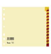 Kartonregister 93403 A-Z A4 halbe Höhe 180g chamois rot/gelbe Taben 24-teilig
