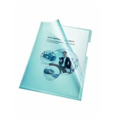 Sichthüllen 205000BL, A4, blau, klar-transparent, glatt, 0,15mm, oben & rechts offen, PVC