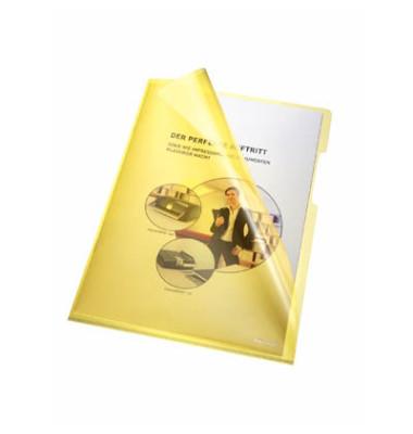 Sichthüllen 205000GE, A4, gelb, klar-transparent, glatt, 0,15mm, oben & rechts offen, PVC