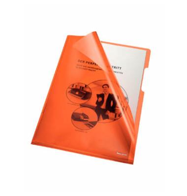 Sichthüllen 205000OR, A4, orange, klar-transparent, glatt, 0,15mm, oben & rechts offen, PVC