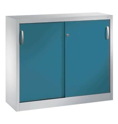 Aktenschrank 2046-00, Stahl abschließbar, 2 OH, 120 x 97,5 x 40 cm, blau/lichtgrau