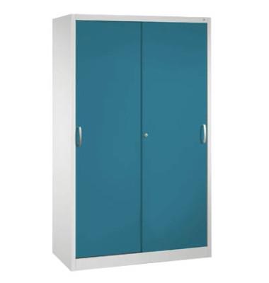Aktenschrank 2040-000, Stahl abschließbar, 5 OH, 120 x 195 x 40 cm, blau/lichtgrau