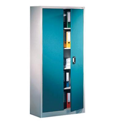 Aktenschrank 9260-000, Stahl abschließbar, 5 OH, 93 x 195 x 40 cm, blau/lichtgrau