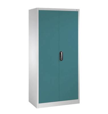 Aktenschrank 9280-000, Stahl abschließbar, 5 OH, 93 x 195 x 50 cm, blau/lichtgrau