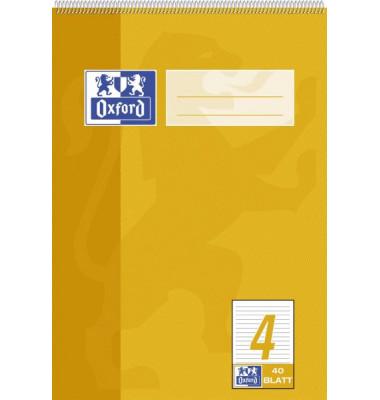 Spiralschulblock/384504004 DIN A5 4 - liniert 9 mm 90 g/qm Inh.40 Blatt