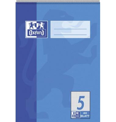 Spiralschulblock/384504005 DIN A5 5 - kariert 5 mm 90 g/qm Inh.40 Blatt