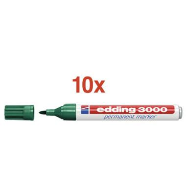 Permanentmarker 3000 grün 1,5-3mm Rundspitze 10 Stück