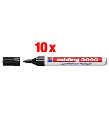 Permanentmarker 3000 schwarz 1,5-3mm Rundspitze 10 Stück