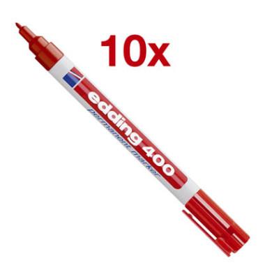 Permanentmarker 400 rot 1mm Rundspitze 10 Stück