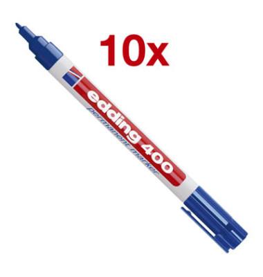 Permanentmarker 400 blau 1mm Rundspitze 10 Stück