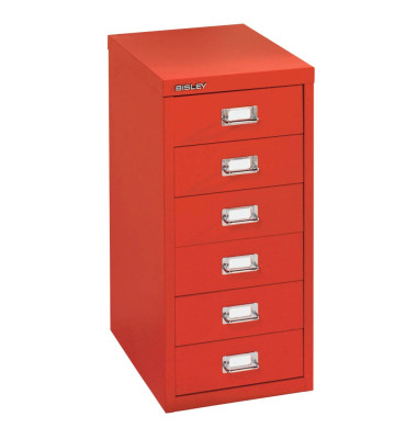 Schubladenschrank MultiDrawer™ 29er Serie L296870, Stahl, 6 Schubladen (Vollauszug), A4, 27,9 x 59 x 38 cm, rot