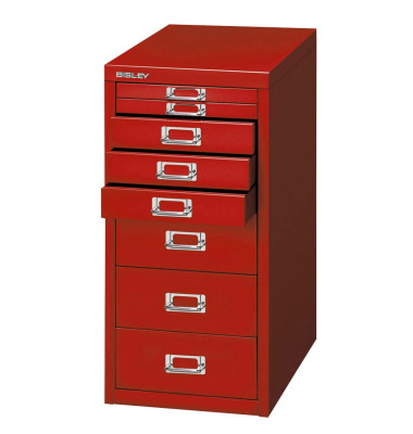 Schubladenschrank MultiDrawer™ 29er Serie L298870, Stahl, 8 Schubladen (Vollauszug), A4, 27,9 x 59 x 38 cm, rot