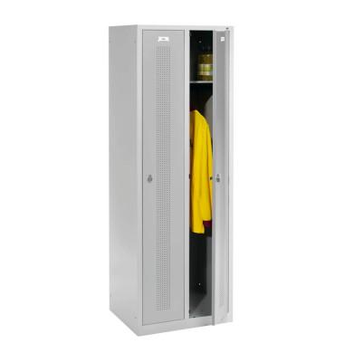 Garderobenschrank lichtgrau mit 2 Abteilen