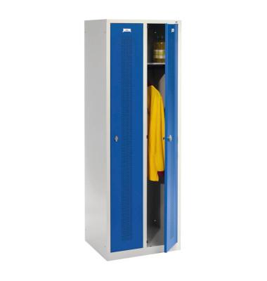 Spind 88055F020+8001-310 RAL7035/5010, Metall, 2 Abteile mit 2 Fächern, 61x185cm (BxH), blau