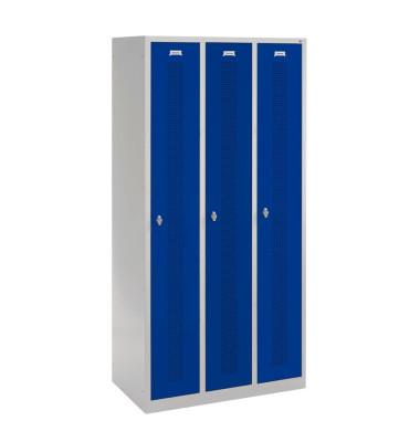 Spind 88055F030+8001-310 RAL7035/5010, Metall, 3 Abteile mit 3 Fächern, 90x185cm (BxH), blau