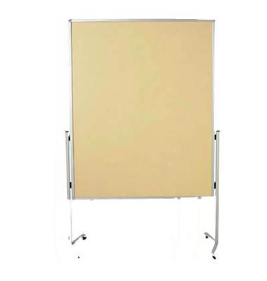 Moderationstafel Premium 7-204100, 120x150cm, Filz + Filz (beidseitig), pinnbar, mit Rollen, beige + beige