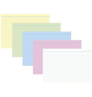 Karteikarten 1150 A8 liniert 190g farbig sortiert 100 Stück