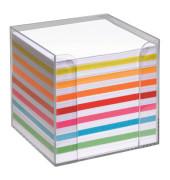 Notizzettel-Box glasklar mit 700 lose Notizzettel weiß/farbig sortiert