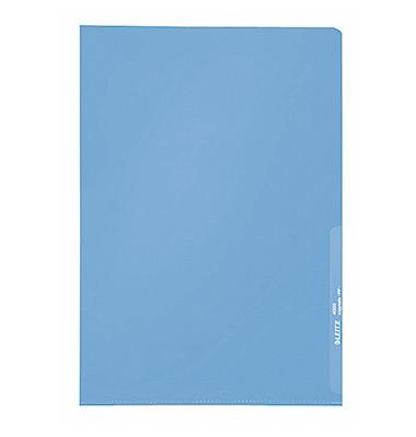 Sichthüllen Standard 4000-00-35, A4, blau, transparent, genarbt, 0,13mm, oben & rechts offen, PP