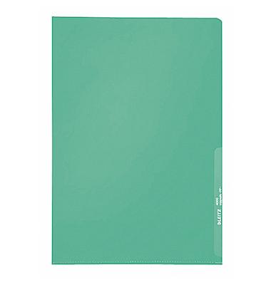 Sichthüllen Standard 4000-00-55, A4, grün, transparent, genarbt, 0,13mm, oben & rechts offen, PP