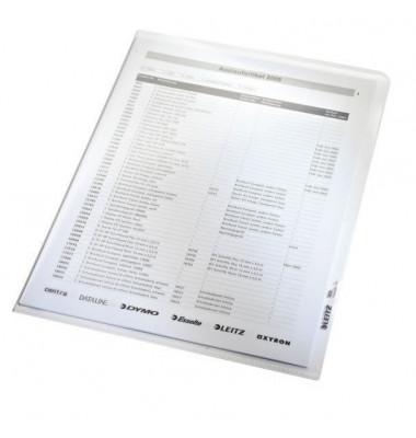Sichthüllen 4020-00-03, A4, farblos, glasklar-transparent, glatt, 0,16mm, oben & rechts offen, PP