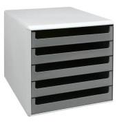 Schubladenbox 30050910 lichtgrau/dunkelgrau 5 Schubladen offen
