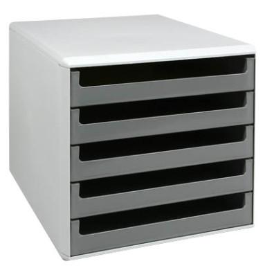 Schubladenbox lichtgrau/dunkelgrau 5 Schubladen