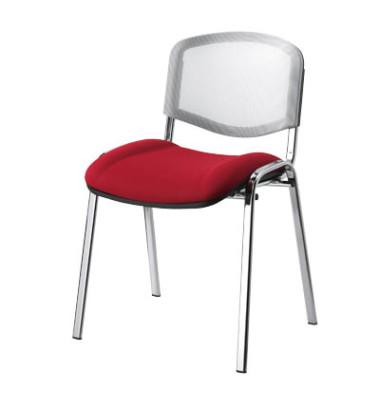 Besucherstühle rot/weiß gepolstert mit Stoffbezug Netzrücken Chromgestell 4 Stück